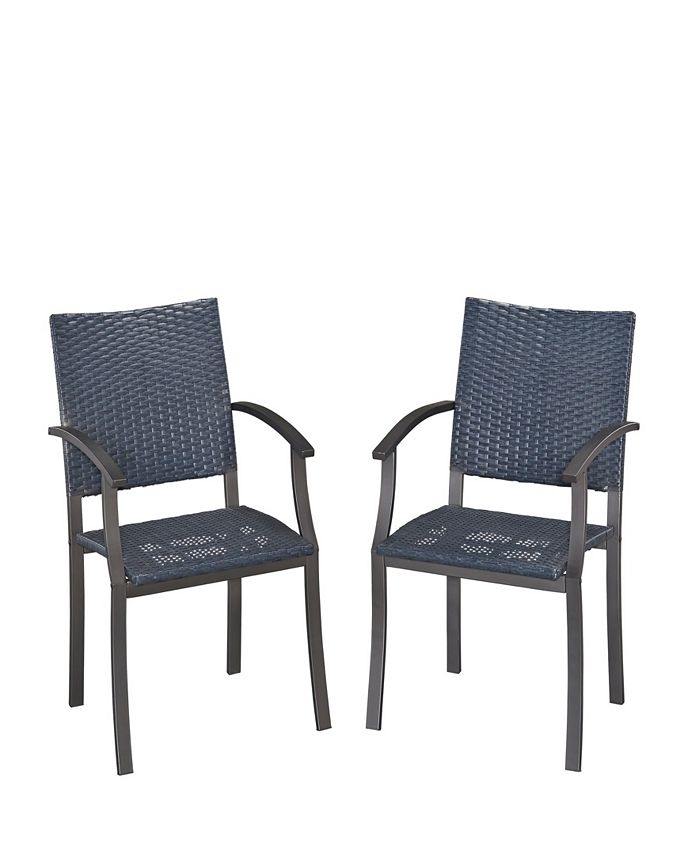 Home Styles - Stone Veneer synthetic-weave Arm Chairs Pair