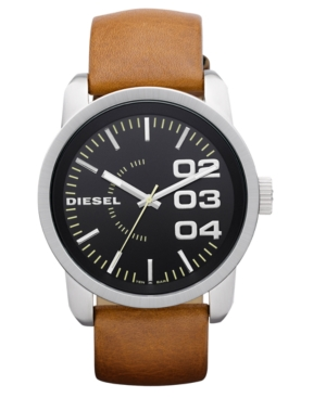 Diesel Watch, Tan Leather Strap 54x46mm DZ1513 $ 120.00