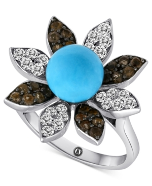 Carlo Viani 14k White Gold Ring, Turquoise (3-1/3 mm) and Multistone Flower Ring