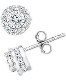 TruMiracle™ Diamond Halo Stud Earrings (3/4 ct. t.w.) in 14k White Gold