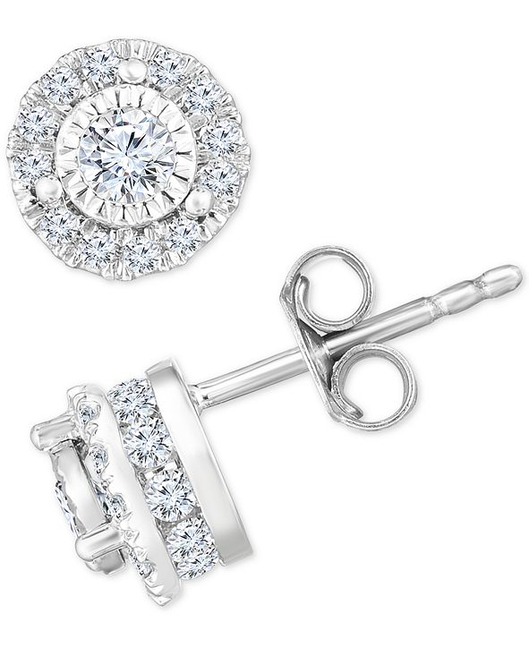 TruMiracle Diamond Halo Stud Earrings (3/4 ct. t.w.) in 14k White Gold