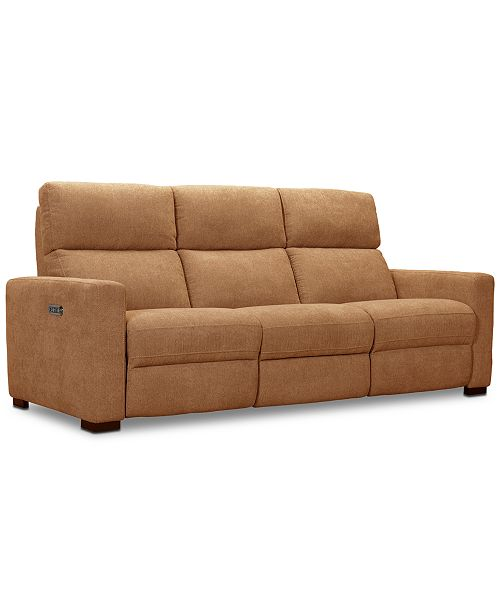 "Furniture CLOSEOUT! Clynton 88"" Fabric Dual Power Sofa With USB Power Outlet & Reviews - Furniture - Macy"