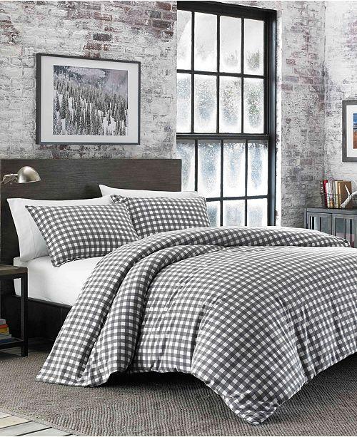Eddie Bauer Preston King Dark Grey Flannel Duvet Cover Set