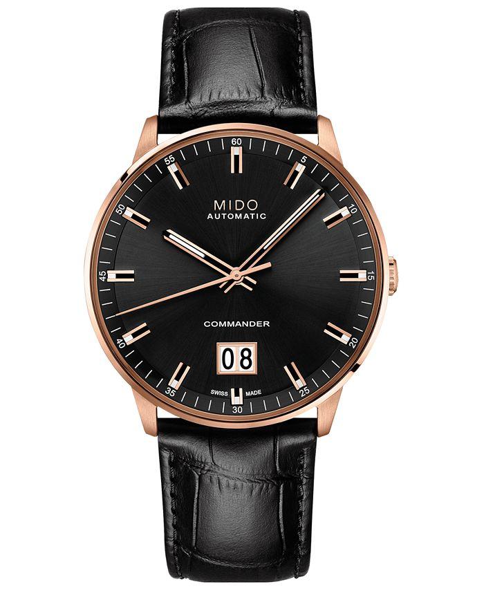 Mido - Men's Swiss Automatic Commander II BigDate Black Leather Strap Watch 42mm
