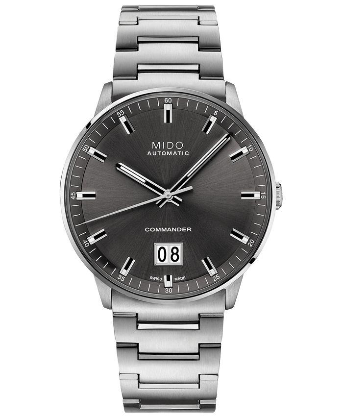 Mido - Men's Swiss Automatic Commander II BigDate Stainless Steel Bracelet Watch 42mm