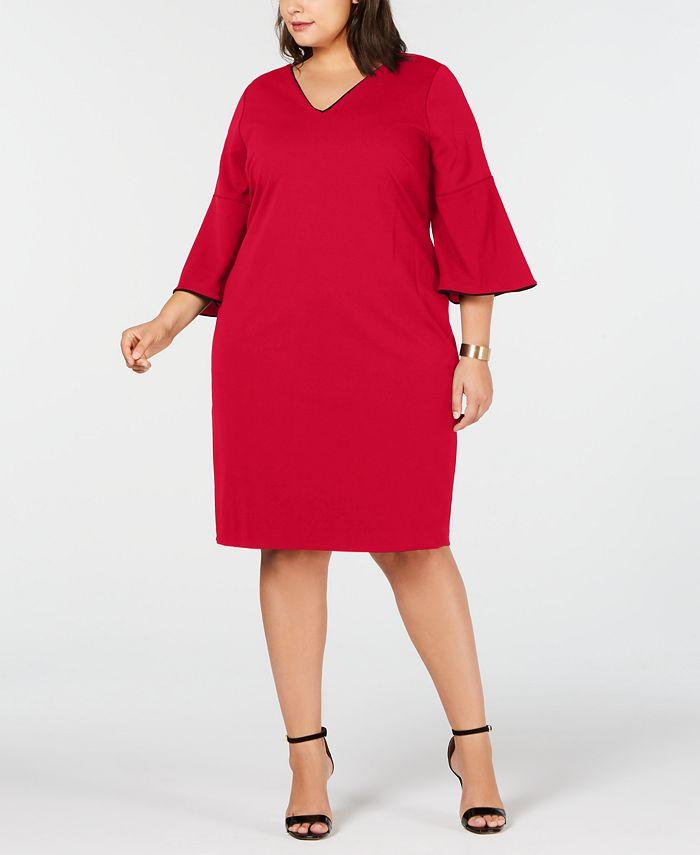 Calvin Klein - Plus Size Bell-Sleeve Sheath Dress