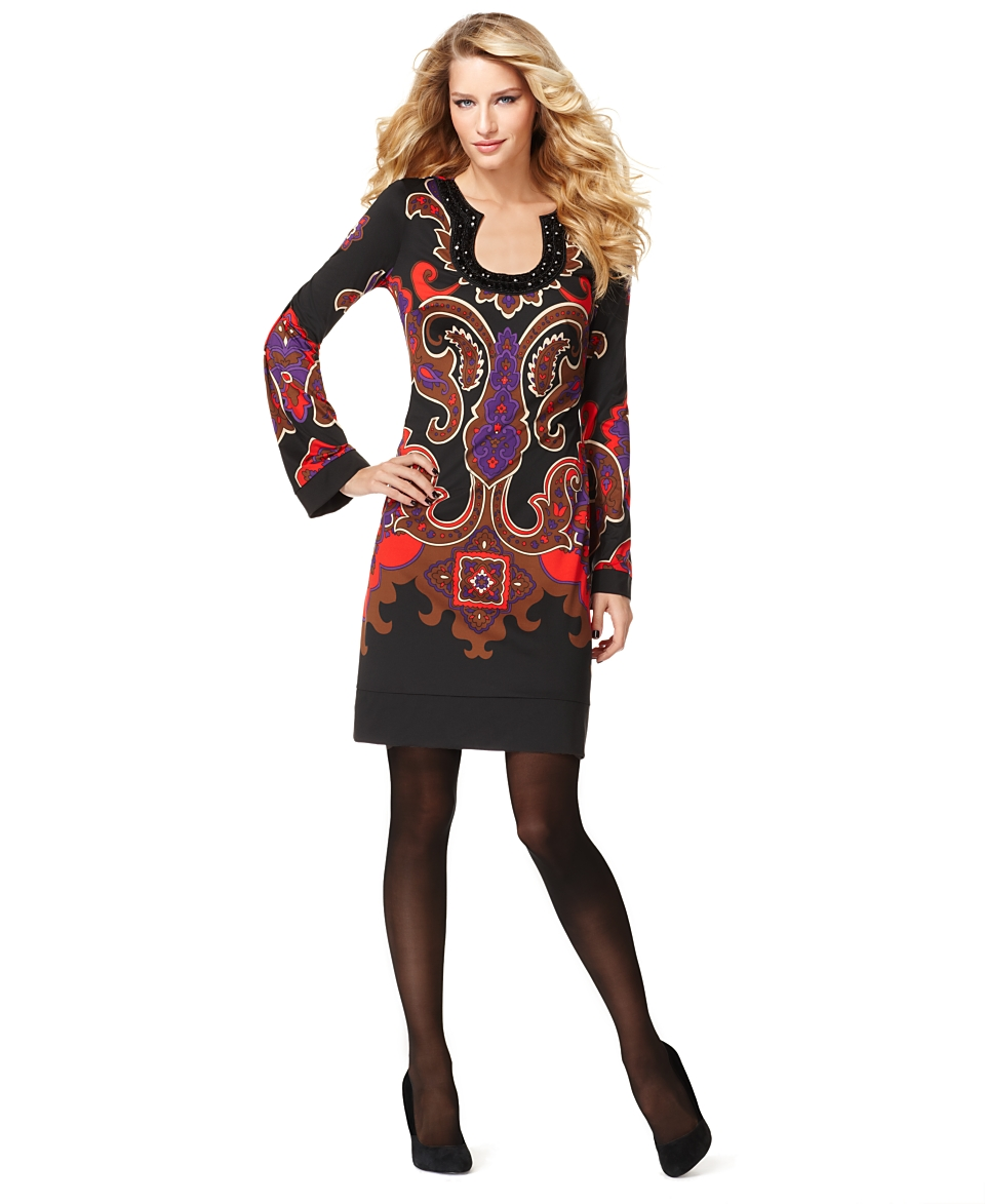 INC International Concepts Dress, Long Sleeve Printed Tunic   Women