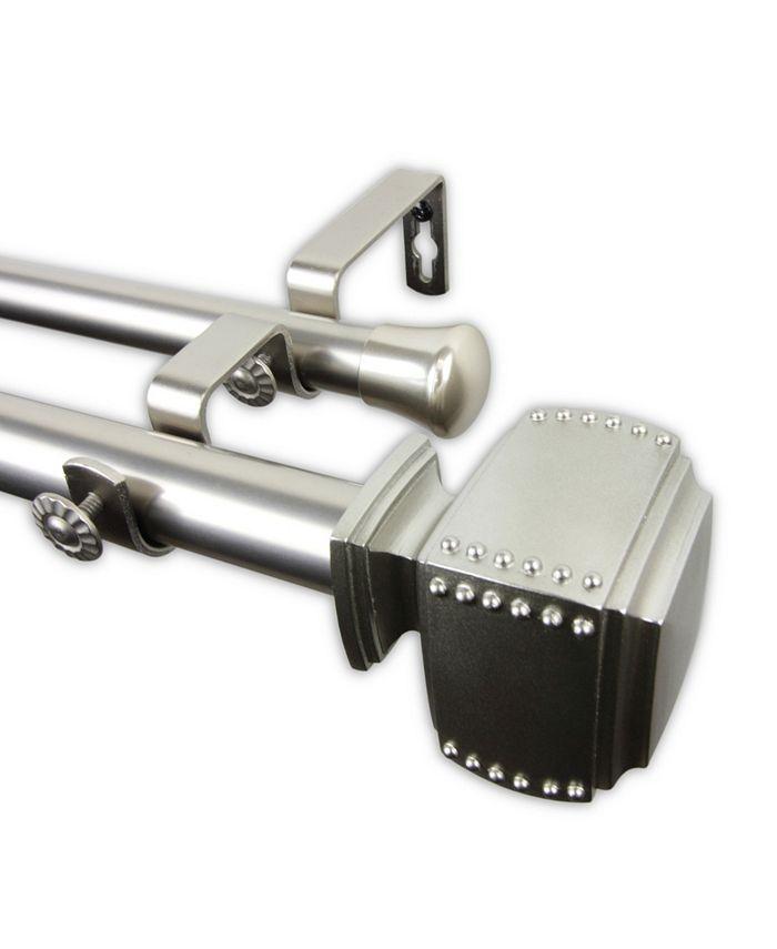 "Rod Desyne - Bennett Double Curtain Rod 1"" OD 120-170 inch - Satin Nickel"