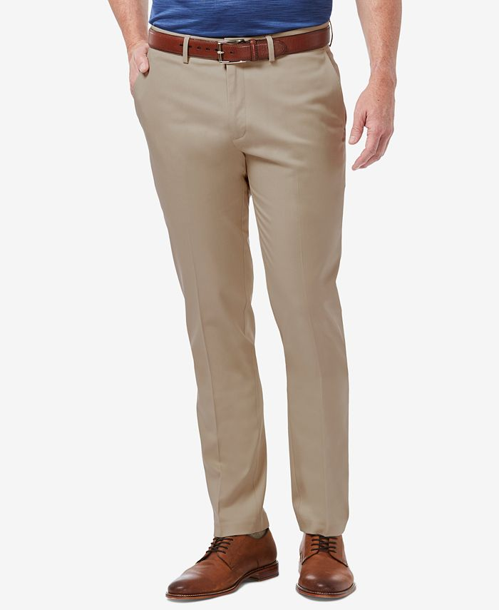 Haggar - Men's Slim-Fit Stretch Solid Casual Pants