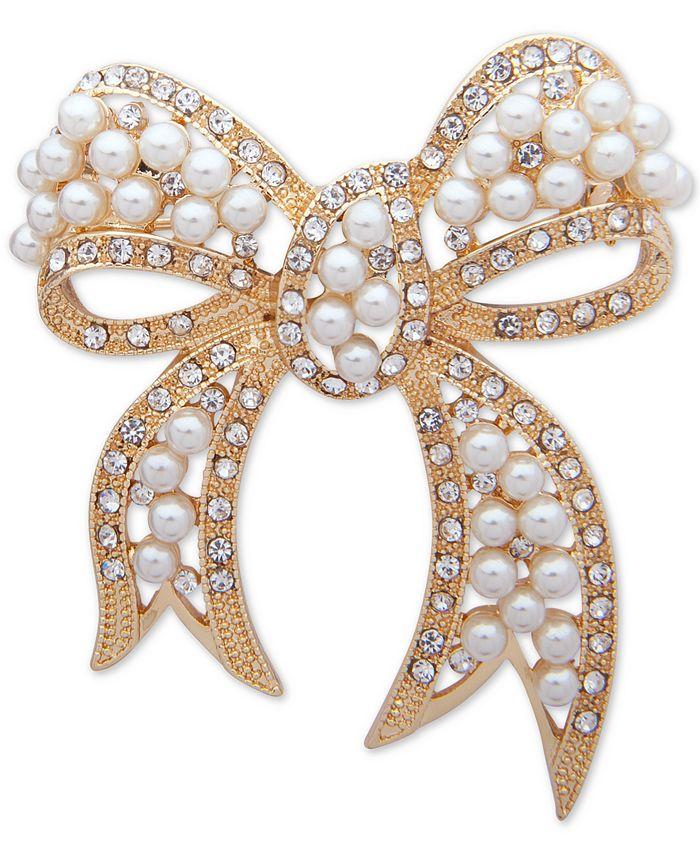 Anne Klein - Gold-Tone Pavé & Imitation Pearl Bow Pin