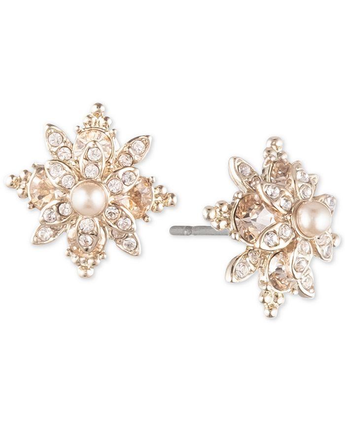 Marchesa - Pavé & Imitation Pearl Flower Stud Earrings