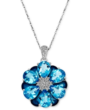 Town & Country Sterling Silver Necklace, Blue Topaz Flower Pendant (13-1/2 ct. t.w.)