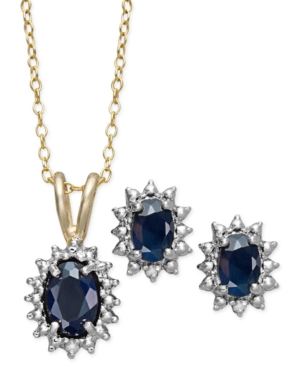 Victoria Townsend 18k Gold over Sterling Silver Jewelry Set, Sapphire (2-1/5 ct. t.w.) and Diamond Accent Oval Pendant and Earrings Set