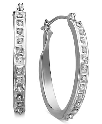 14k White Gold Earring, Diamond Accent Oval Hoop Earrings