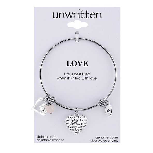 Unwritten Love Charm and Rose Quartz (8mm) Bangle Bracelet in Stainless Steel with Silver Plated Charms