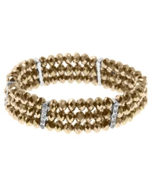 2028 Bracelet, Copper Tone Three Row Stretch Bracelet