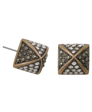 City by City Earrings, Glass Crystal Square Stud Earrings