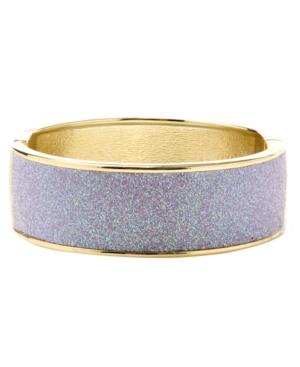 Betsey Johnson Bracelet, Purple Glitter Hinged Cuff Bracelet