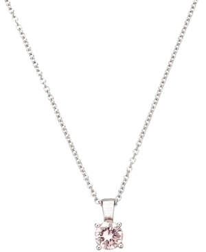 CRISLU Children's Necklace, Platinum over Sterling Silver Princess Cut Pink Cubic Zirconia Pendant (1/2 ct. t.w.)