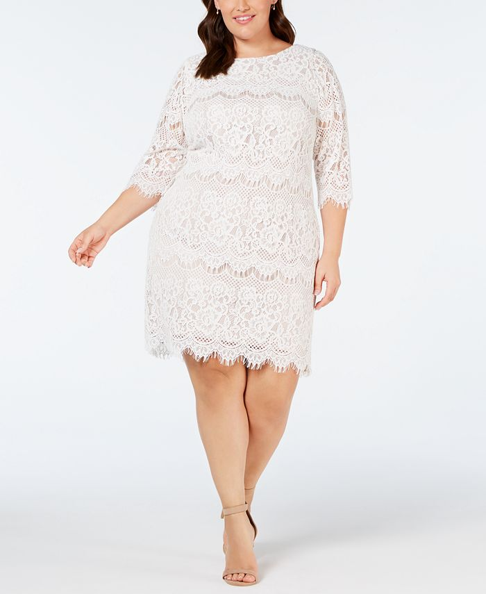 Jessica Howard - Plus Size Scalloped Lace Dress