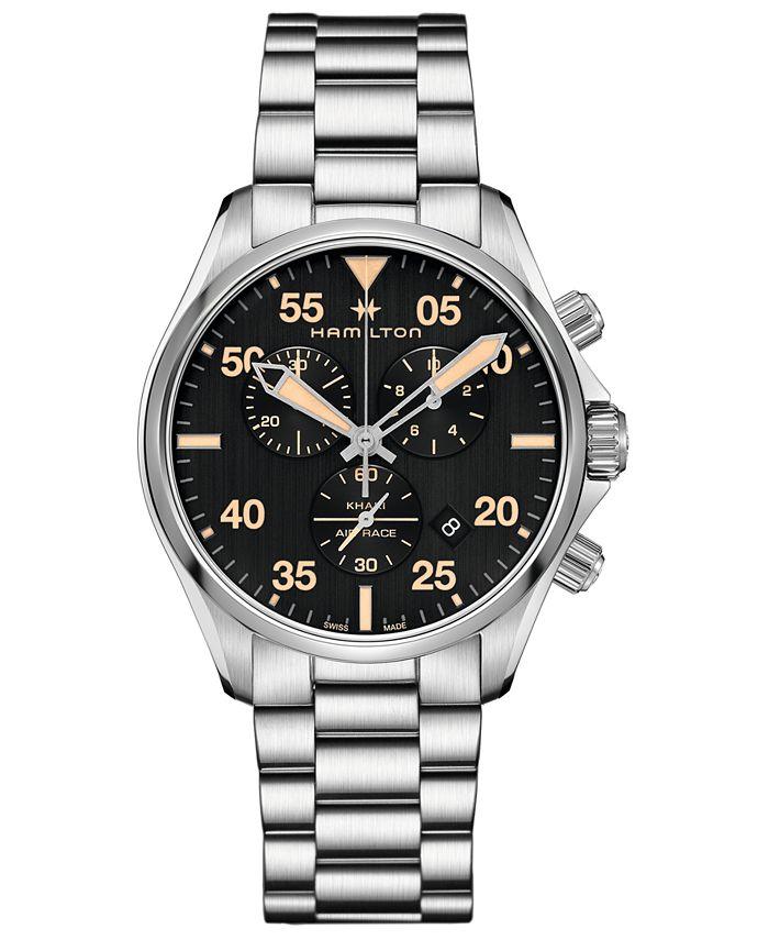 Hamilton - Men's Swiss Chronograph Khaki Pilot Stainless Steel Bracelet Watch 44mm
