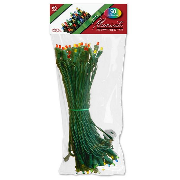 National Tree Company 50 Concave LED Bulb Light String Set, Multicolor