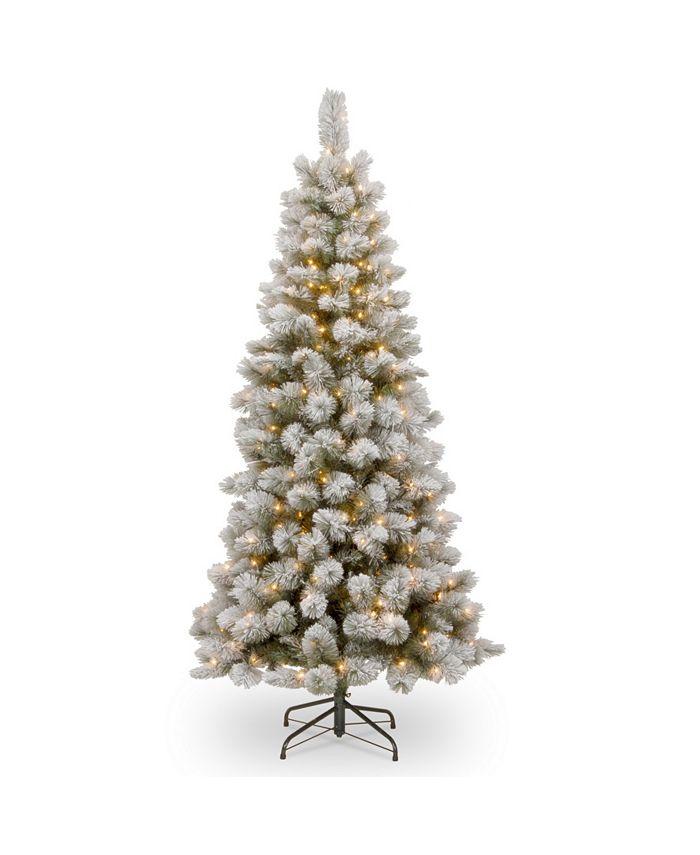 National Tree Company - National Tree 7 .5' Snowy Bristle Pine Slim Hinged Tree with 350 Clear Lights