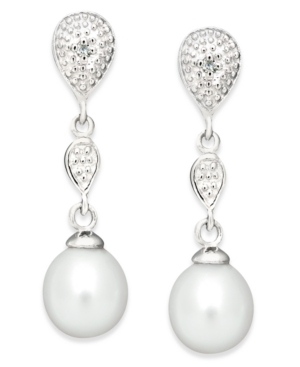 Sterling Silver Earrings, Cultured Freshwater Pearl and Diamond Accent Drop Earrings