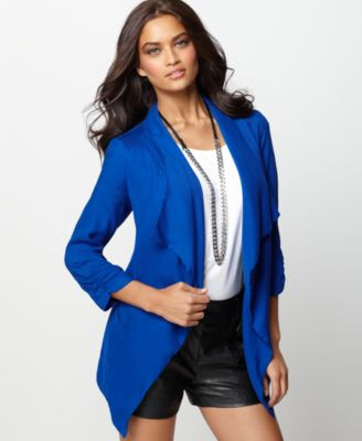 Buffalo Jeans Jacket, Ophelia Three Quarter Sleeve Draped Open Front Blazer