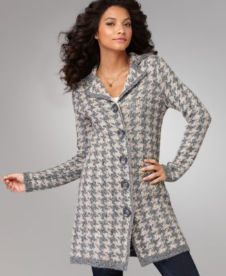 Fever Sweater, Long Sleeve Houndstooth Check Coat