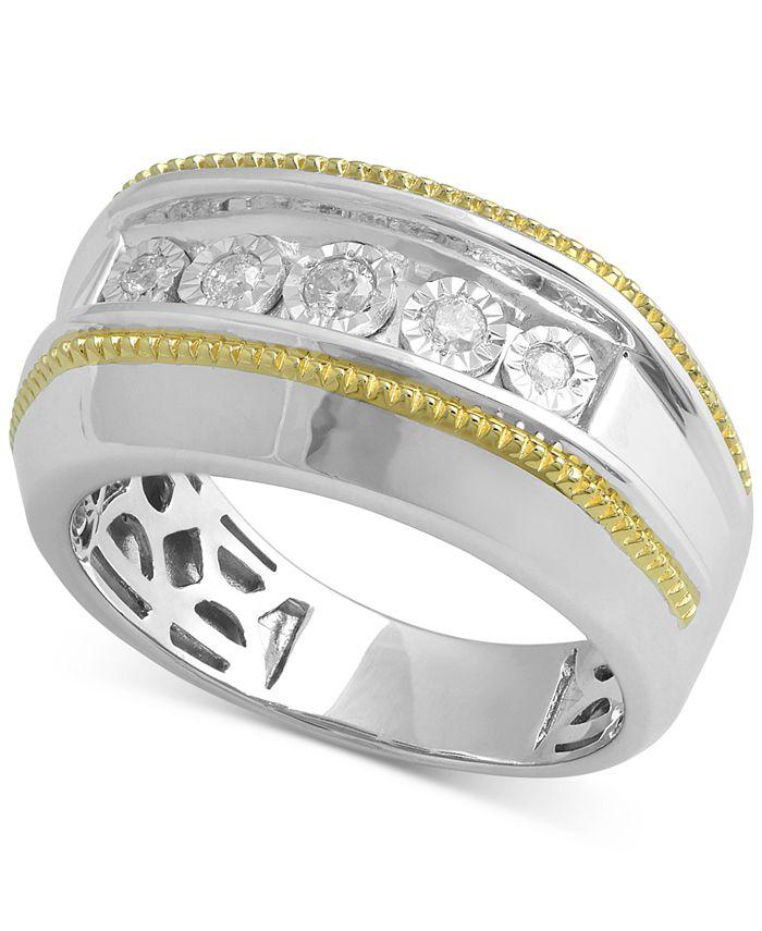 Macy's - Men's Diamond Two-Tone Ring (1/5 ct. t.w.) in Sterling Silver & 14k Gold-Plate