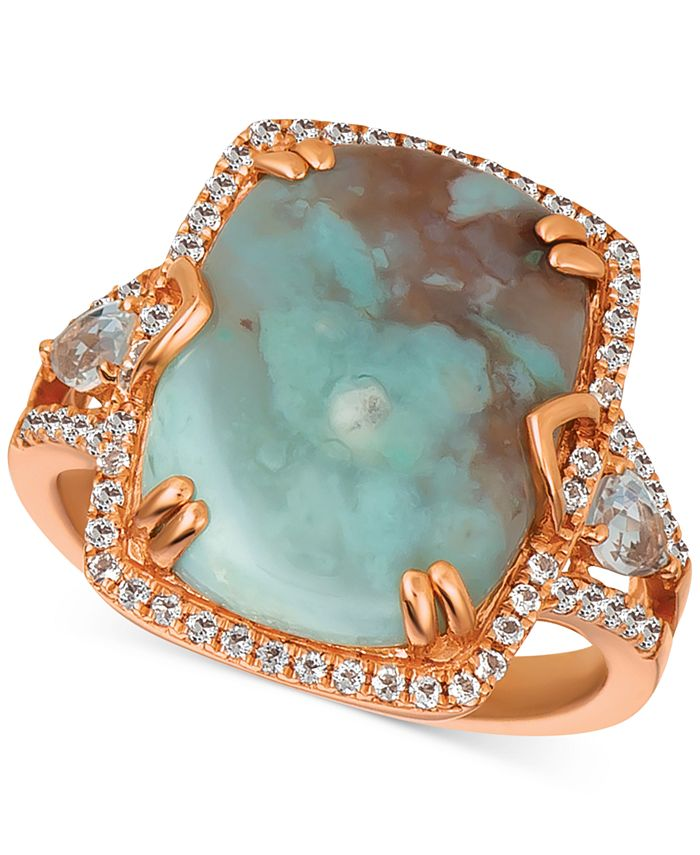 Le Vian - Sky Aquaprase (16 x 12mm) & White Topaz (5/8 ct. t.w.) Ring in 14k Rose Gold