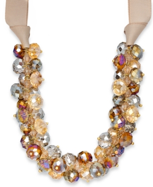 c.A.K.e. by Ali Khan Necklace, Champagne Beaded Ribbon Necklace