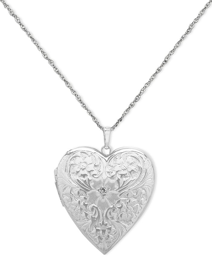 Macy's - 4-Photo Engraved Heart Locket in Sterling Silver