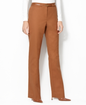 Charter Club Pants, Classic Fit Straight Leg Belted Trousers