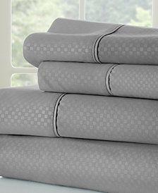 Expressed In Embossed by The Home Collection Checkered 4 Piece Bed Sheet Set, Full