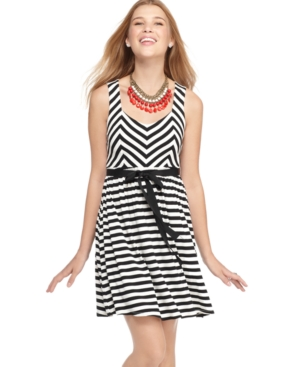 American Rag Dress, Sleeveless Belted Striped A-Line