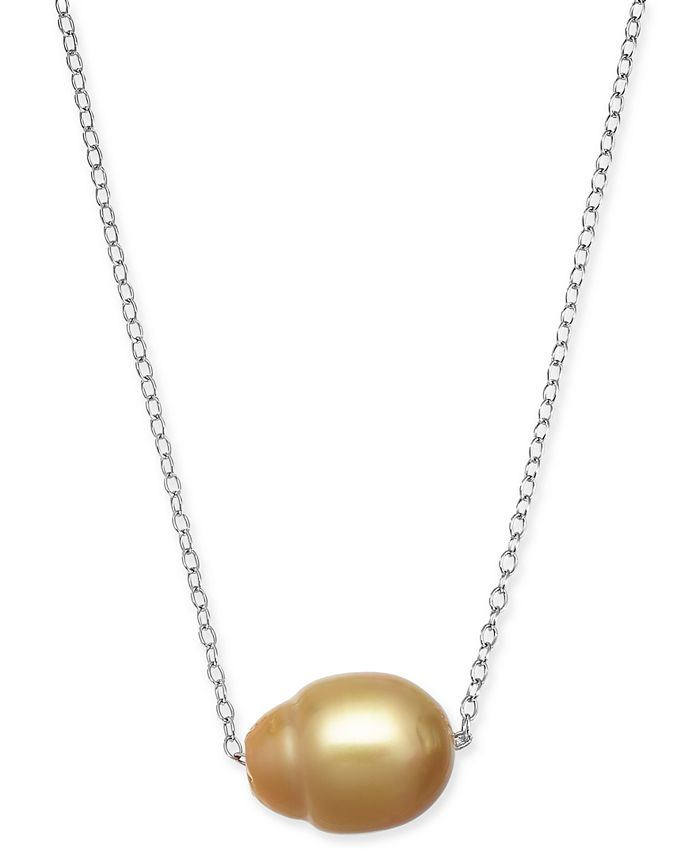 """Macy's - Baroque Cultured Golden South Sea Pearl (12mm) 18"""" Pendant Necklace in Sterling Silver"""