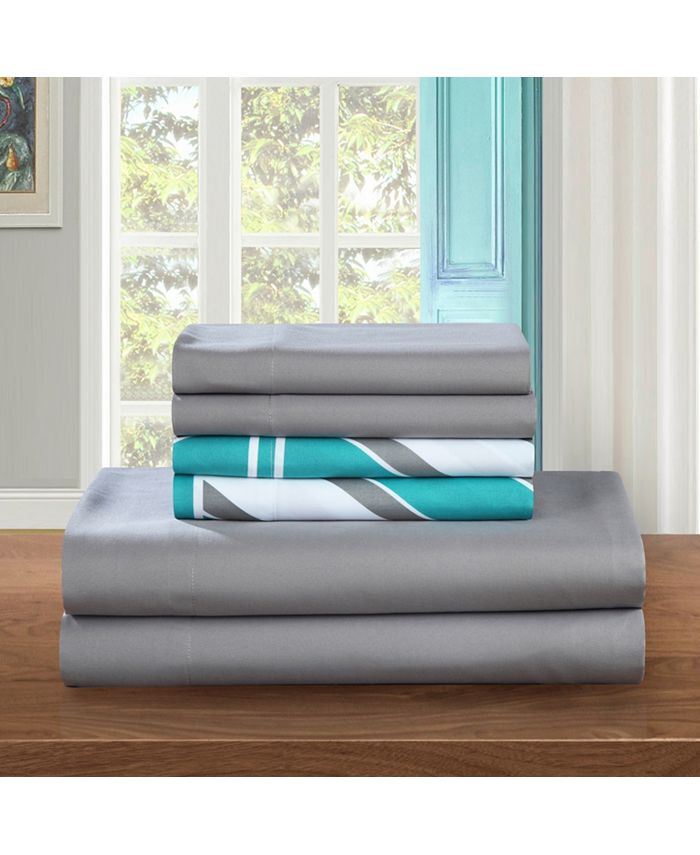 Chic Home - Solid Grey with Ariel 6-Pc. King Sheet Set