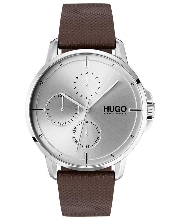 HUGO - Men's #Focus Brown Leather Strap Watch 42mm