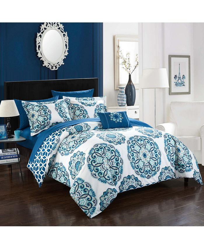 Chic Home - Barcelona 8-Pc. Full/Queen Bed In a Bag Comforter Set