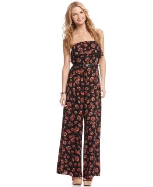 American Rag Jumpsuit, Strapless Belted Floral Print Wide Leg