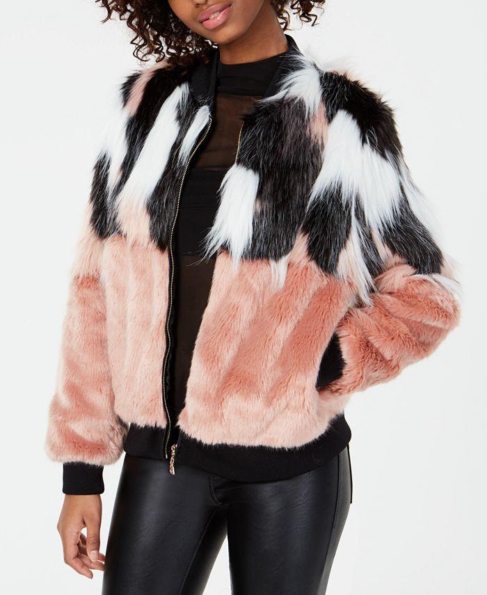 Say What? - Juniors' Mixed Faux-Fur Bomber Jacket