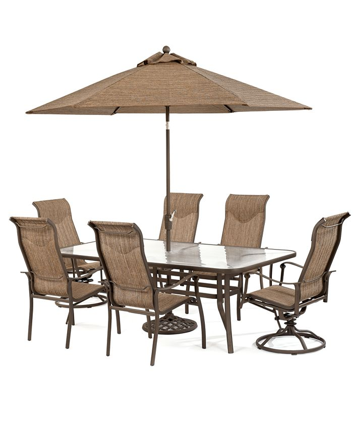 """Furniture - Oasis Outdoor 7 Piece Set: 84"""" x 42"""" Dining Table, 4 Dining Chairs and 2 Swivel Chairs"""