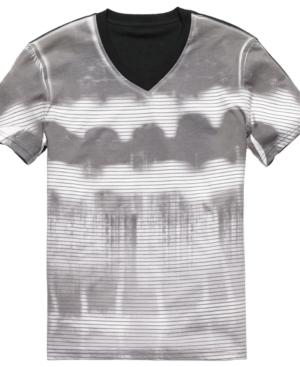 Bar III Shirt, V Neck Short Sleeve Tie Dye Shirt