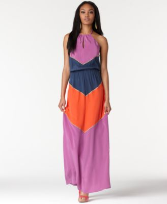 BCBGMAXAZRIA Dress, Sleeveless Keyhole Halter Colorblocked Silk Maxi