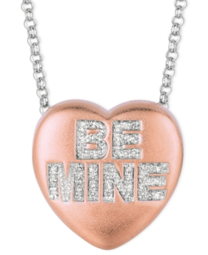 Sweethearts Diamond Necklace, 14k Rose Gold over Sterling Silver Diamond Be Mine Heart Pendant (1/8 ct. t.w.)