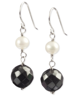 Sterling Silver Earrings, Hematite and Cultured Freshwater Pearl Beaded Faceted Drop Earrings