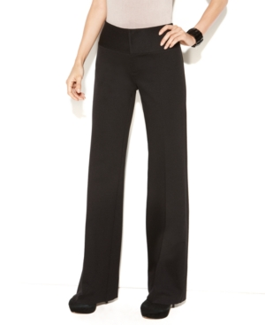 INC International Concepts Pants, Flared Leg Wide Waistband Ponte Knit