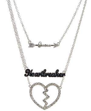 GUESS Necklace, Three Row Broken Heart Logo Necklace